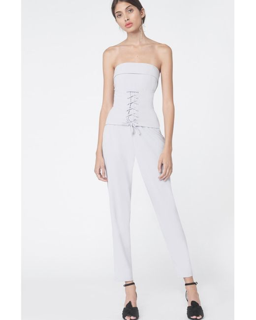 Lavish Alice | Gray Corset Panel Tailored Jumpsuit In Dove Grey | Lyst