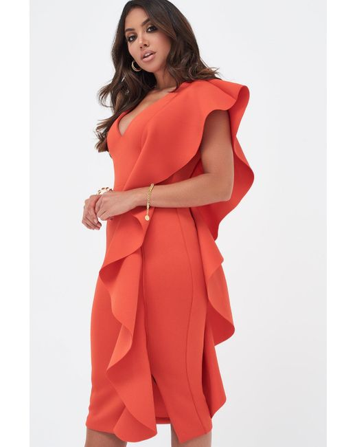 d334b313992 ... Lavish Alice - Scuba Frill V-neck Midi Dress In Scarlet Red - Lyst ...