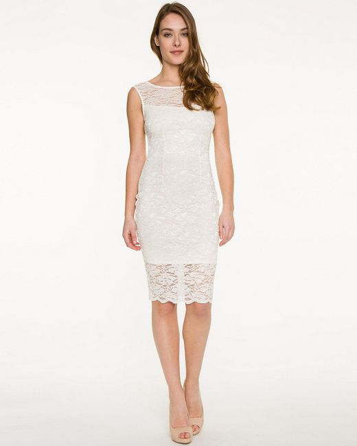 Le Chateau - White Lace Illusion Cocktail Dress - Lyst