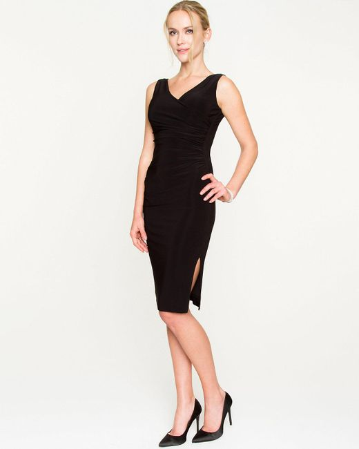 Le Chateau - Black Knit Faux Wrap Midi Dress - Lyst