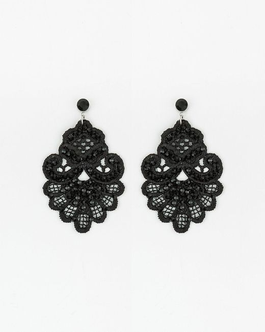Le Chateau - Black Beaded Lace Earrings - Lyst