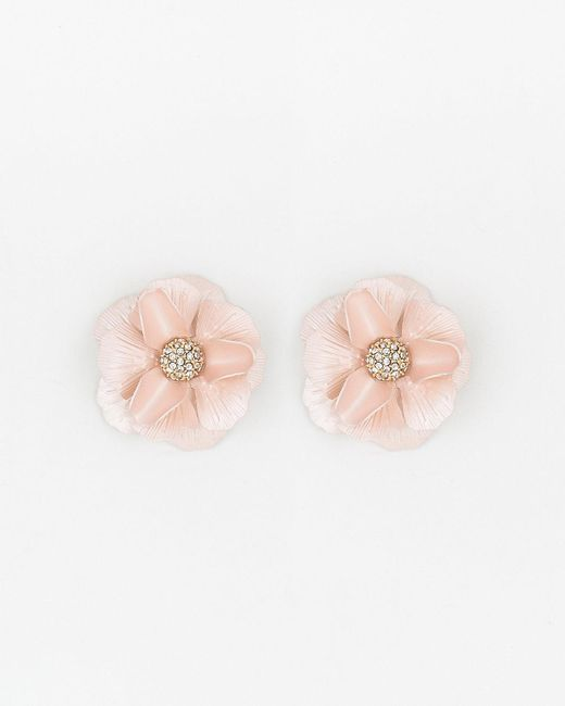 Le Chateau - Pink Floral Gem Stud Earrings - Lyst