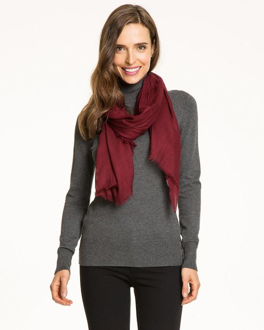 Le Chateau - Red Viscose Lightweight Scarf - Lyst