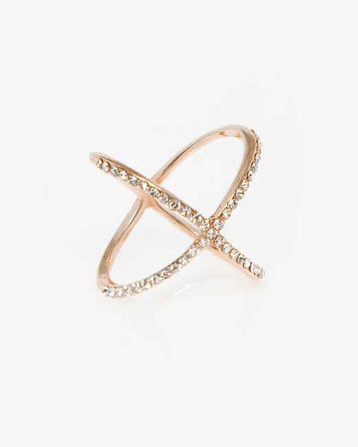 Le Chateau - Metallic Gem Criss-cross Ring - Lyst