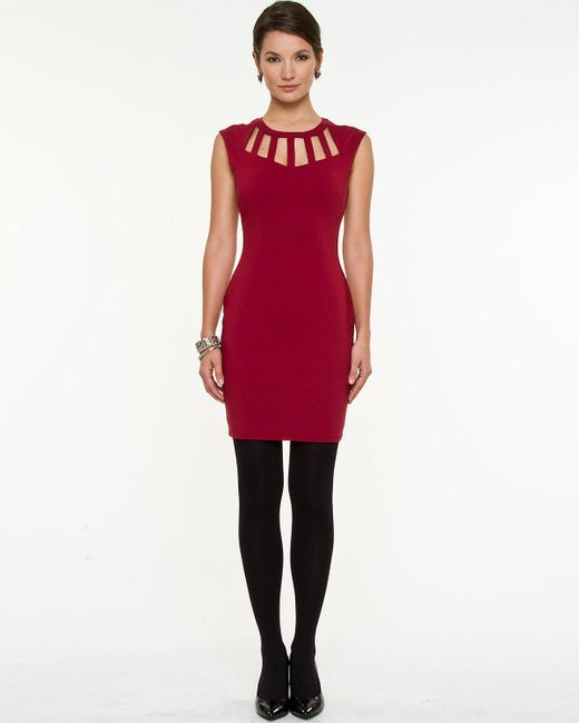 Le Chateau - Red Bengaline Cutout Dress - Lyst