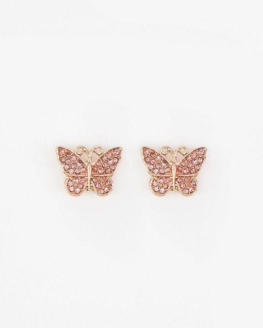 Le Chateau - Pink Glitter Butterfly Earrings - Lyst