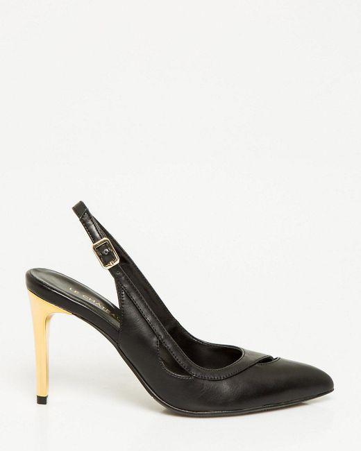 Le Chateau - Black Leather-like Pointy Toe Slingback Pump - Lyst