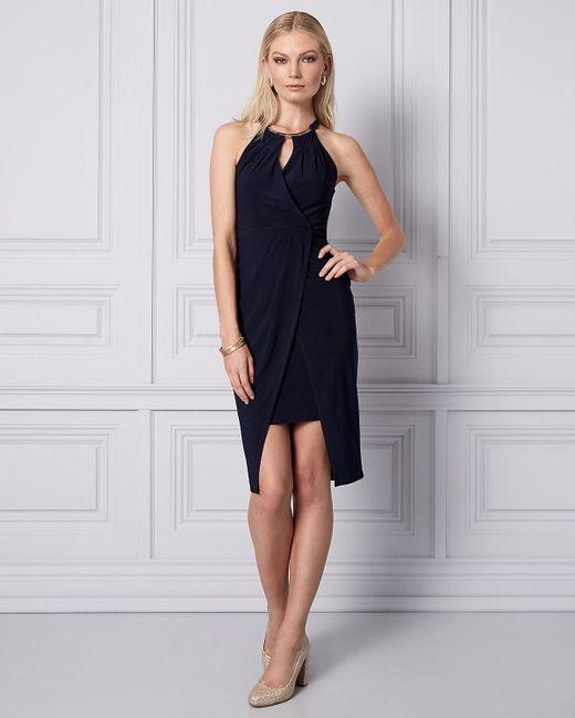 Le Chateau - Blue Knit Wrap-like Halter Dress - Lyst