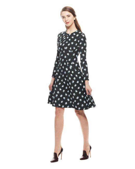 Lela Rose | Green Tulip Stretch Jacquard Long Sleeve Reversible Dress | Lyst
