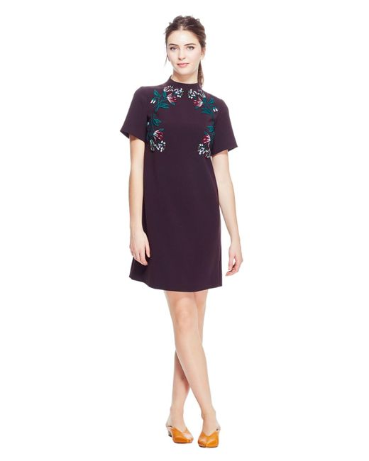 Lela Rose - Purple Stretch Canvas Embroidered Funnel Neck Tunic Dress - Lyst