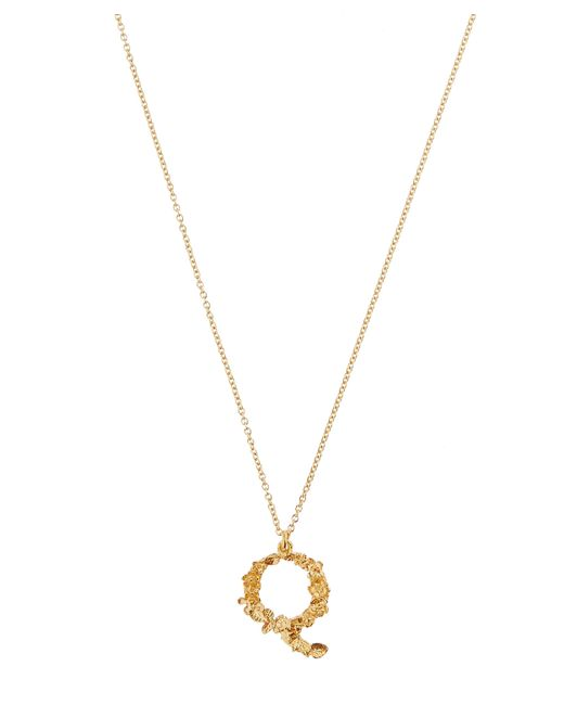 Alex Monroe - Metallic Gold-plated Floral Letter Q Alphabet Necklace - Lyst