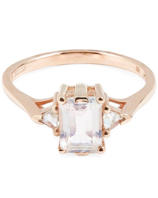 Anna Sheffield - Metallic Rose Gold Bea Rainbow Moonstone Three Stone Ring - Lyst