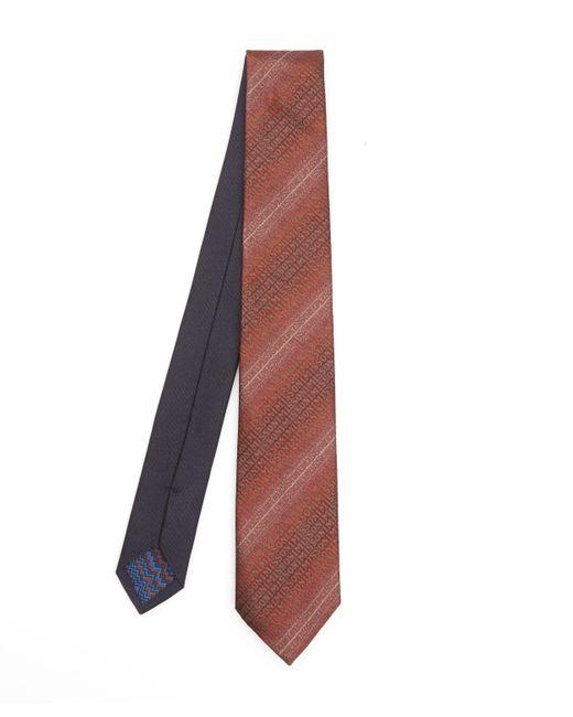Missoni Red Stripe Logo Ombre Tie for men