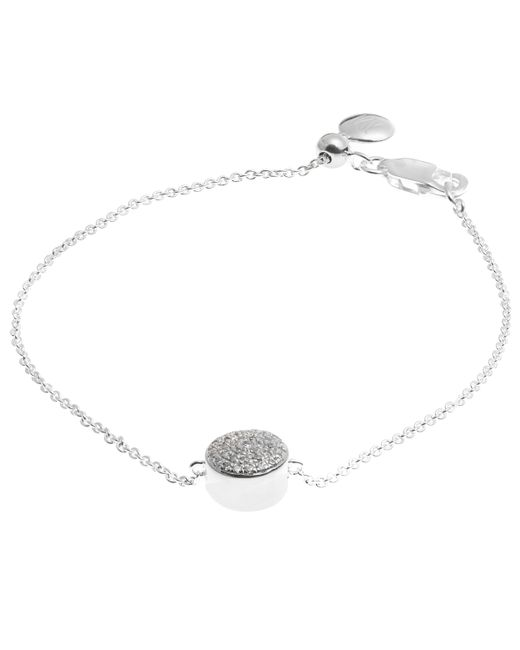 Monica Vinader | Metallic Silver Diamond Ava Button Bracelet | Lyst