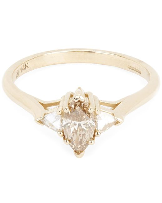 Anna Sheffield - Metallic Champagne Diamond Marquise Bea Ring - Lyst
