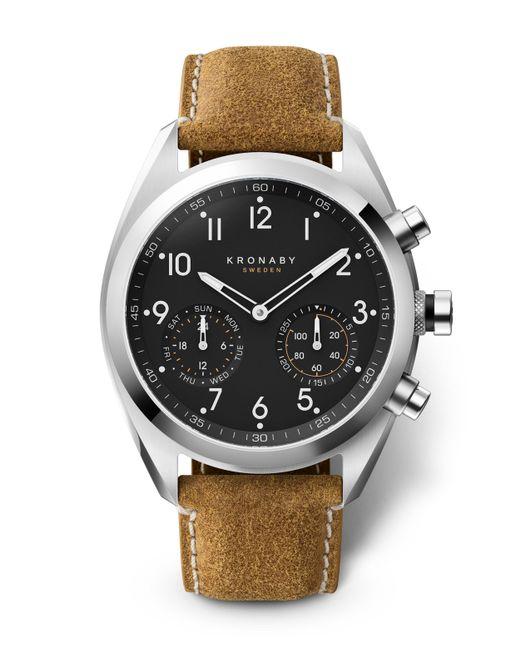 Kronaby - Black Apex Matt Leather Strap Hybrid Smart Watch for Men - Lyst