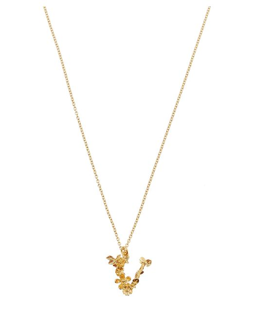 Alex Monroe - Metallic Gold-plated Floral Letter V Alphabet Necklace - Lyst