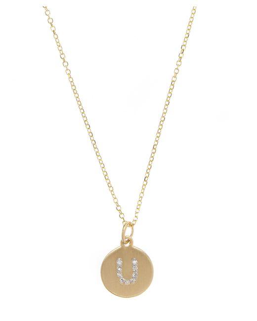 KC Designs - Metallic Gold And Diamond Letter U Disc Pendant Necklace - Lyst