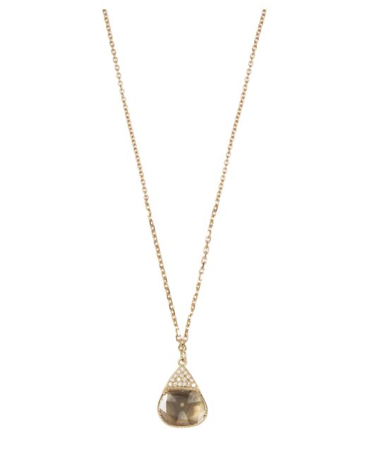 Brooke Gregson - Metallic Gold Halo Diamond Slice Necklace - Lyst