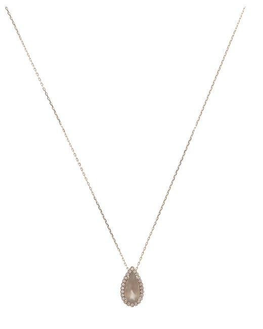 Suzanne Kalan | Metallic Rose Gold Grey Moonstone And White Diamond Pendant Necklace | Lyst