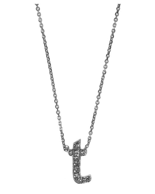 KC Designs - Metallic White Gold Diamond Letter T Necklace - Lyst