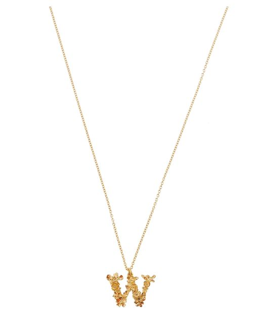 Alex Monroe - Metallic Gold-plated Floral Letter W Alphabet Necklace - Lyst