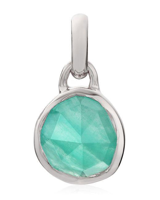 Monica Vinader - Metallic Silver Mini Siren Amazonite Bezel Pendant - Lyst