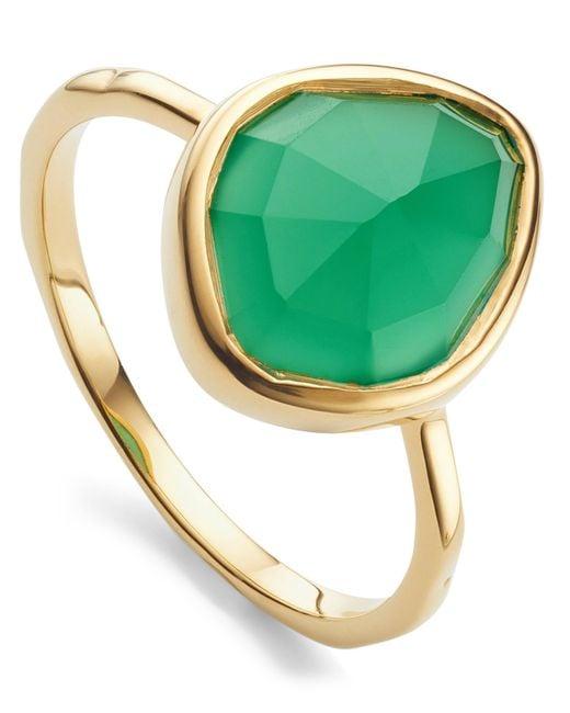 Monica Vinader - Metallic Gold Vermeil Green Onyx Siren Small Nugget Stacking Ring - Lyst