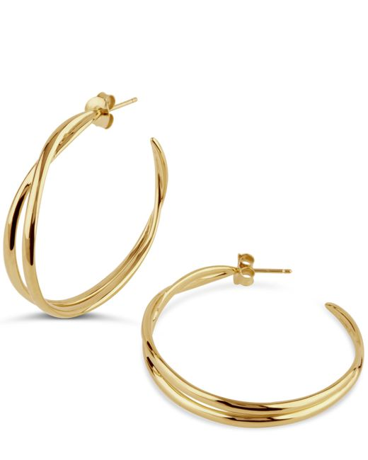 Dinny Hall - Metallic Gold Twist Medium Double Hoop Earrings - Lyst
