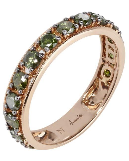 Annoushka - Metallic 18ct Rose Gold Dusty Diamonds Green Diamond Eternity Ring - Lyst