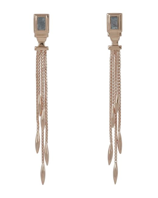 Monica Vinader - Multicolor Rose Gold-plated Baja Deco Labradorite Narrow Drop Cocktail Earrings - Lyst