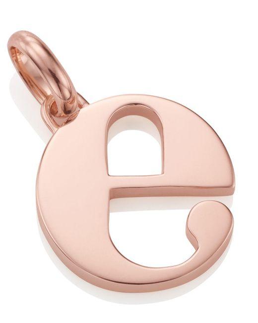 Monica Vinader - Pink Rose Gold-plated Alphabet Pendant E - Lyst