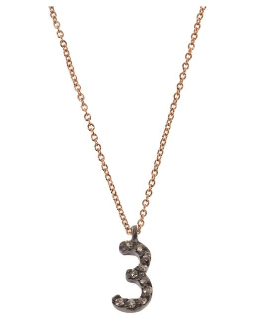 Kismet by Milka - Multicolor Rose Gold And Diamond Number 3 Necklace - Lyst