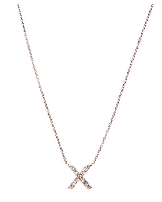 KC Designs - Blue Rose Gold Diamond X Initial Necklace - Lyst