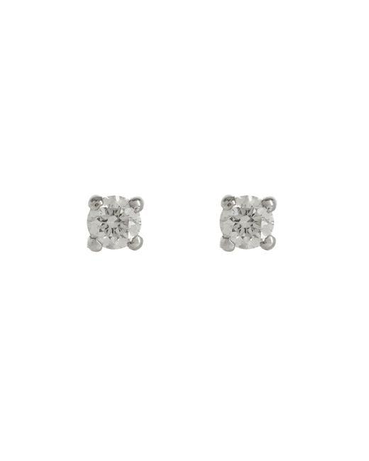 Kojis - Metallic White Gold Diamond Stud Earrings - Lyst