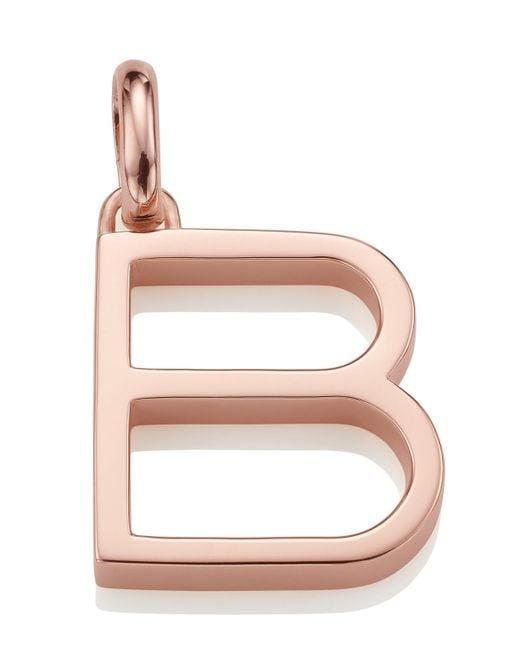 Monica Vinader | Pink Rose Gold-plated Alphabet Pendant B | Lyst