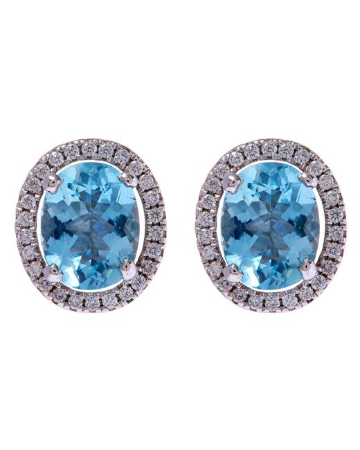 Kojis | Blue White Gold Aquamarine Halo Diamonds Stud Earrings | Lyst