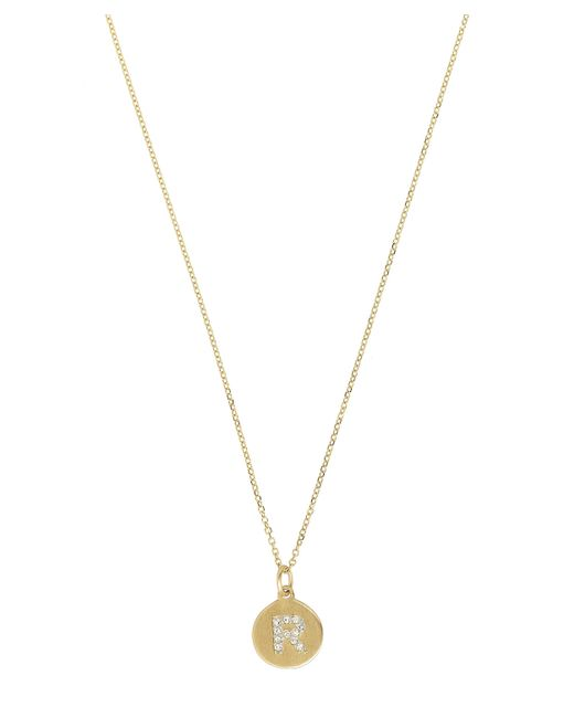 KC Designs - Metallic Gold And Diamond Letter R Disc Pendant Necklace - Lyst
