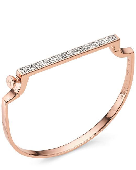 Monica Vinader - Multicolor Rose Gold Vermeil Signature Thin Diamond Bangle - Lyst