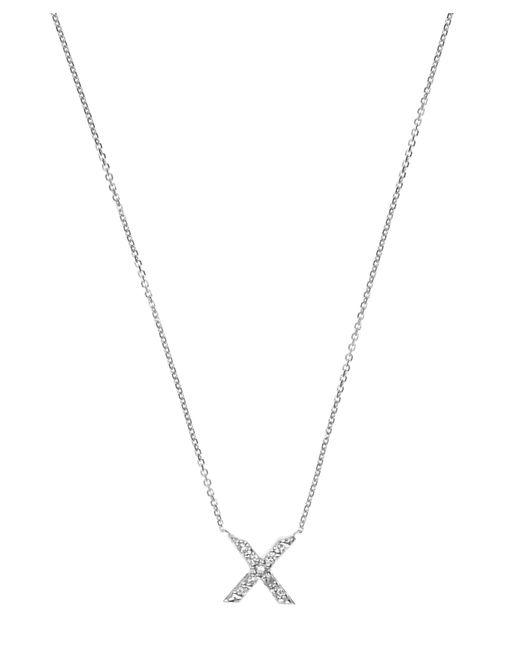 KC Designs - Metallic White Gold Diamond X Initial Necklace - Lyst