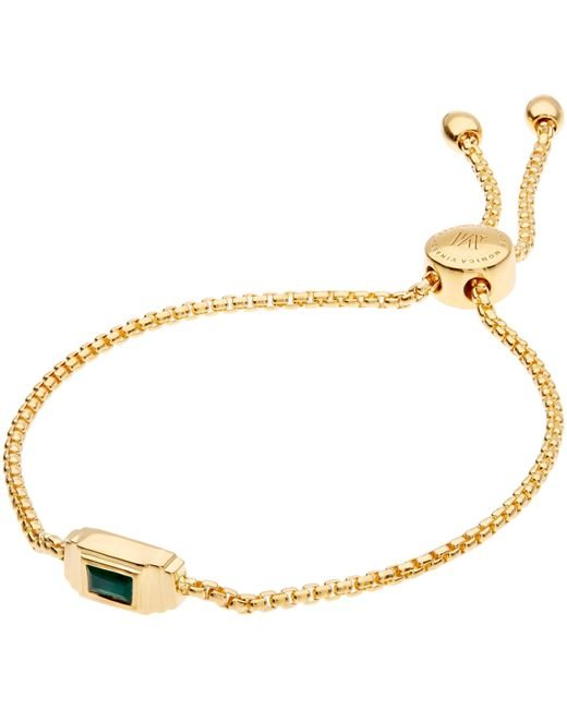 Monica Vinader - Metallic Gold Vermeil Baja Deco Green Onyx Bracelet - Lyst
