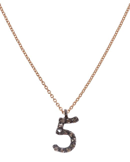Kismet by Milka - Metallic Rose Gold And Diamond Number 5 Necklace - Lyst