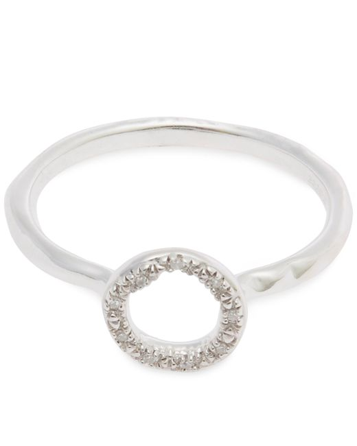 Monica Vinader - Metallic Sterling Silver Riva Mini Diamond Circle Stacking Ring - Lyst