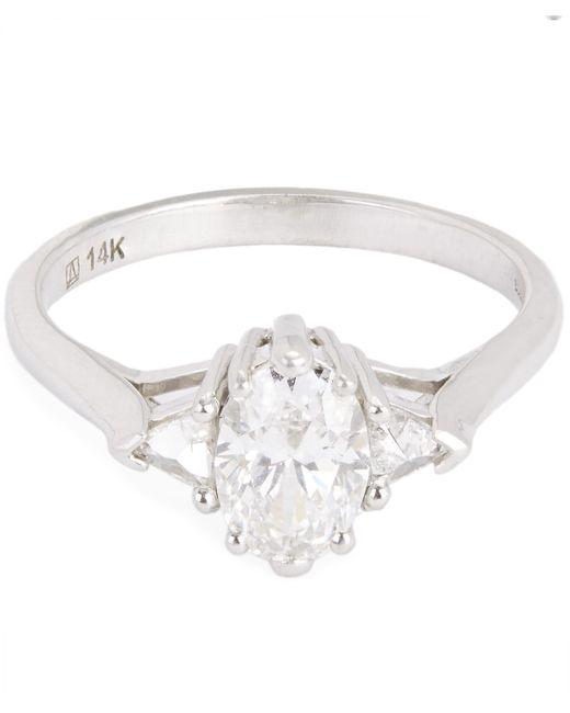 Anna Sheffield - White Gold Oval White Diamond Three Stone Ring - Lyst