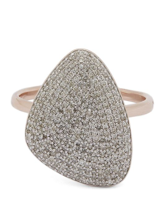 Monica Vinader - Metallic Rose Gold-plated Nura Teardrop Diamond Ring - Lyst