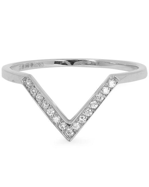 Anna Sheffield - White Gold Bea Chevron White Diamond Ring - Lyst