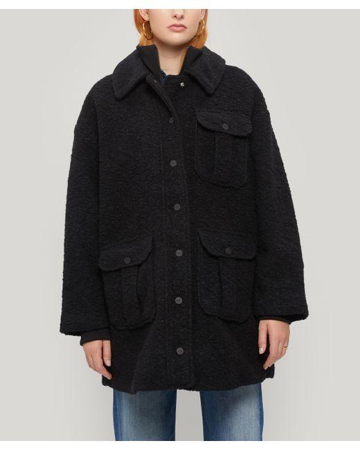 Ganni Black Oversized Boucle Wool Jacket