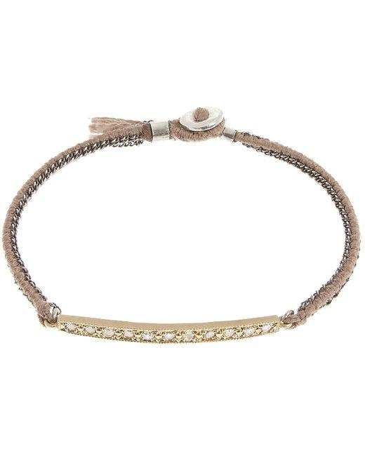 Brooke Gregson | Metallic Gold And Diamond Bar Silk Woven Bracelet | Lyst