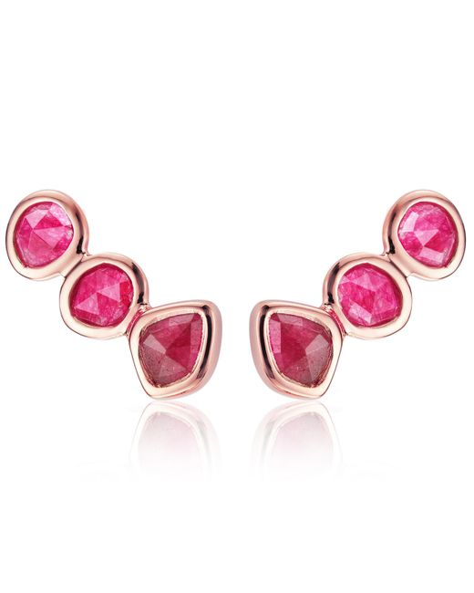 Monica Vinader - Rose Gold Vermeil Pink Quartz Siren Climber Earrings - Lyst