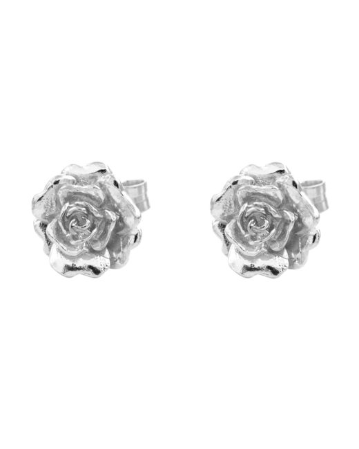 Alex Monroe - Metallic Silver Rose Damasca Stud Earrings - Lyst